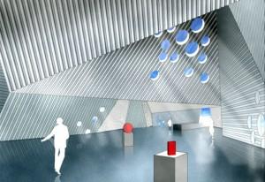 Daniels förslag på hur det kan se ut inuti ett nytt Artcentre i Högdalen.