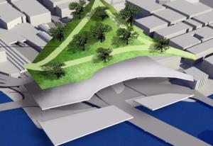 Järnvägsparken. I skolan ritade Daniel det här förslaget på hur man kan pimpla upp området runt Tegelbacken.